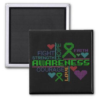 Kidney Disease Colorful Slogans Square Magnet