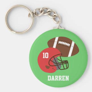 Kids American Football Helmet Name Basic Round Button Key Ring