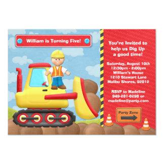 Kids Construction Truck Birthday Party Invitation