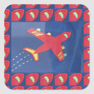 Kids Love Aeroplane Aircraft Flight Travel Holiday Square Sticker