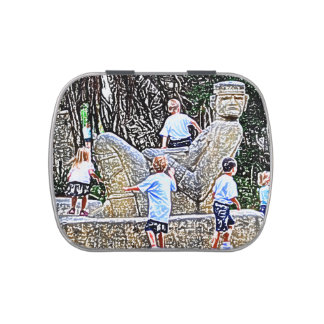 kids playing on statue colored pencil look jelly belly tin