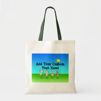 Kids Playing Outdoors on a Sunny Day Budget Tote Bag