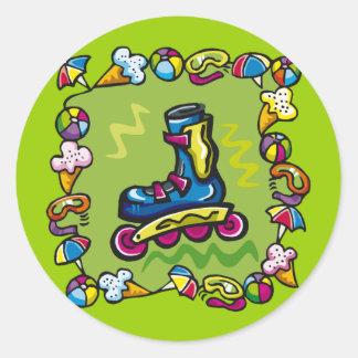 Kids Rollerblade T Shirts and Kids Gifts Round Sticker