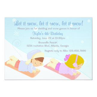 Kids Sledding and Snow Games Winter Birthday Party 13 Cm X 18 Cm Invitation Card
