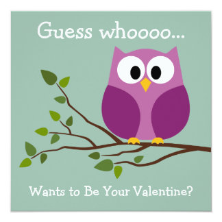 Kids Valentines Day Card with Cute Cartoon Owl 13 Cm X 13 Cm Square Invitation Card
