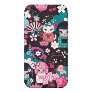 Kimono Cuties Kawaii Iphone case by Fluff iPhone 4 Covers