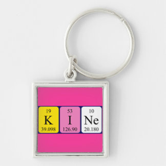 Kine periodic table name keyring Silver-Colored square key ring