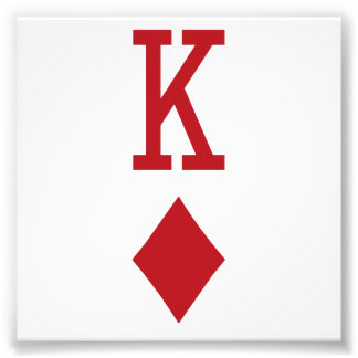 King of Diamonds Red Playing Card Photographic Print