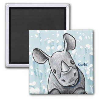 KiniArt Rhino Square Magnet