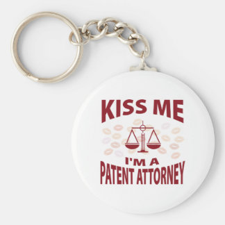 Kiss Me I'm A Patent Attorney Basic Round Button Key Ring