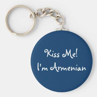Kiss Me! I'm Armenian Basic Round Button Key Ring