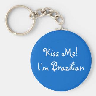 Kiss Me! I'm Brazilian Basic Round Button Key Ring