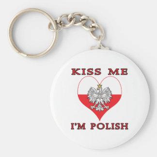 Kiss Me I'm Polish Basic Round Button Key Ring
