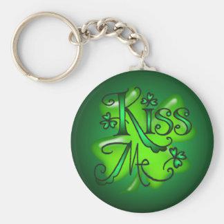 KISS ME SHAMROCKS by SHARON SHARPE Basic Round Button Key Ring