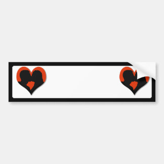 Kissing Couple Silhouette on Red Heart Bumper Sticker