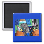 Kitchen Cats Square Magnet