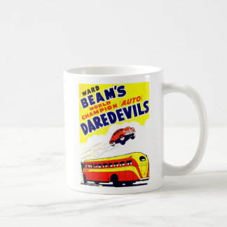Kitsch Vintage Auto Daredevils Basic White Mug