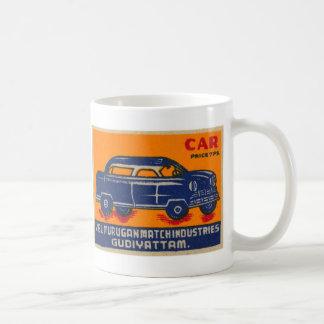 Kitsch Vintage India Matchbook 'Car' Basic White Mug