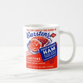 Kitsch Vintage Matchbook Carsten's Hams Basic White Mug