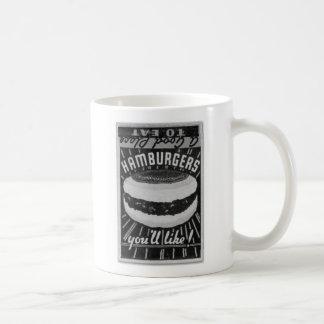 Kitsch Vintage Matchbook Hamburgers Basic White Mug