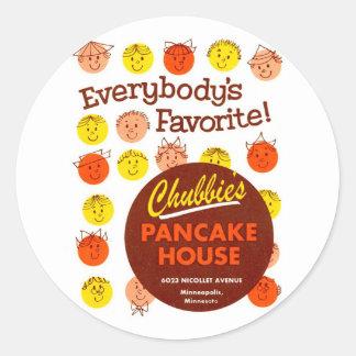 Kitsch Vintage Pancake House 'Chubbie's' Round Sticker