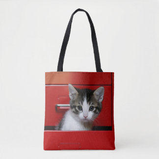 Kitten in a red drawer tote bag