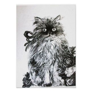 KITTEN WITH ROSES ,Black and White Poster