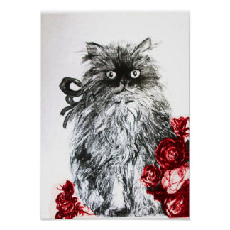 KITTEN WITH ROSES ,Black Red and White Poster