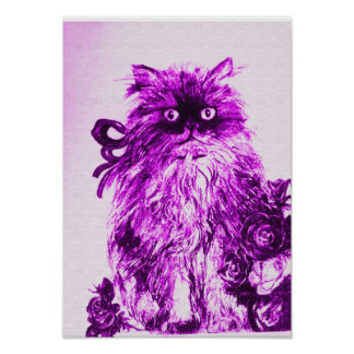 KITTEN WITH ROSES ,Purple Violet and White Poster