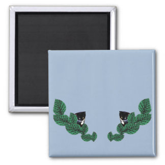 Kittens and Leaves Square Magnet
