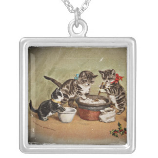 Kittens Making Pudding Square Pendant Necklace