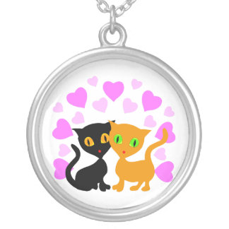 Kitty Love Round Pendant Necklace