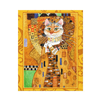 Klimt Cat Woman in Gold art spoof Stretched Canvas Prints