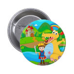 Knight and dragon on the fairy land 6 cm round badge
