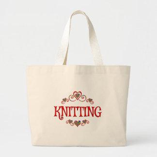 Knitting Hearts Jumbo Tote Bag