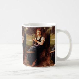 Knitting Woman by William-Adolphe Bouguereau Basic White Mug