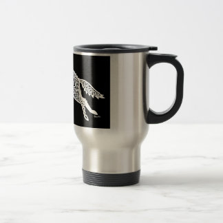 Knotwork Wolf, White on Black Stainless Steel Travel Mug