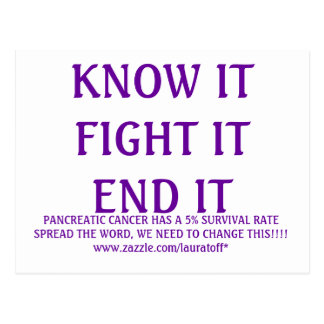 KNOW IT  FIGHT IT END IT, PANCREATIC CANCER HAS... POSTCARD