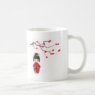 Kokeshi doll under sakura branch basic white mug