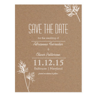 Kraft Paper Brown and White Leaves Save The Date Postcard