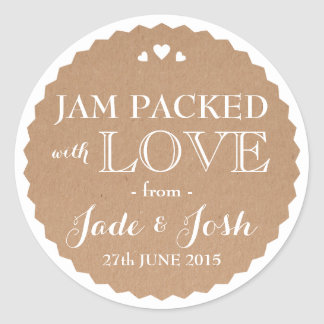 Kraft Paper Hearts Wedding Favor Jar Round Sticker