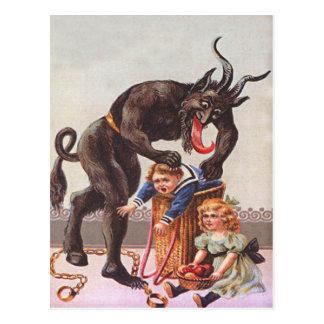 Krampus Kidnapping Children Postcard