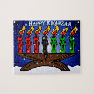 Kwanzaa Candle Kinara with Snow And Greeting Puzzles