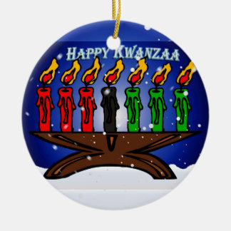 Kwanzaa Candle Kinara with Snow And Greeting Round Ceramic Decoration