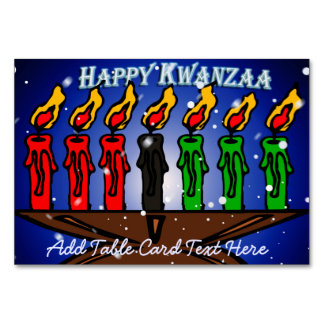 Kwanzaa Candle Kinara with Snow And Greeting Table Cards
