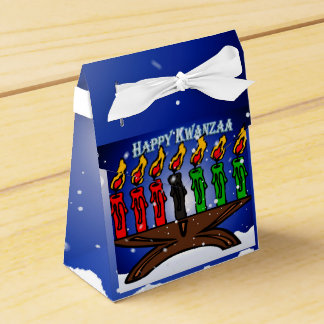 Kwanzaa Candle Kinara with Snow And Greeting Wedding Favour Boxes