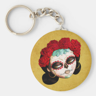 La Catrina - Dia de Los Muertos Girl Basic Round Button Key Ring
