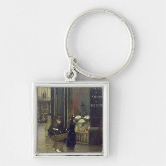 La Parfumerie Viollet, Boulevard des Capucines Silver-Colored Square Key Ring