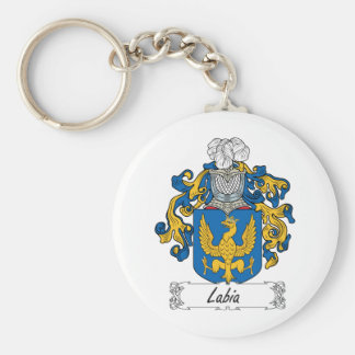 Labia Family Crest Basic Round Button Key Ring