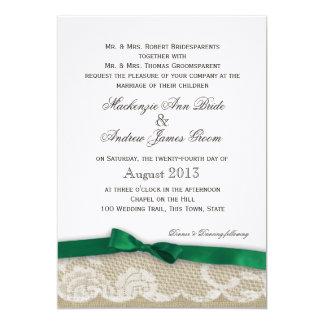 Lace and Emerald Green Bow Wedding 13 Cm X 18 Cm Invitation Card